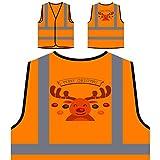 GLÜCKLICHE FROHE WEIHNACHTEN WEIHNACHTSROT LUSTIGE NEUHEIT NEU Personalisierte High Visibility Orange Sicherheitsjacke Weste l35vo
