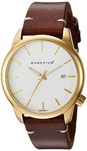 Momentum Women's Quartz Stainless Steel and Leather Dress Watch, Color:Brown (Model: 1M-SP13W3C)