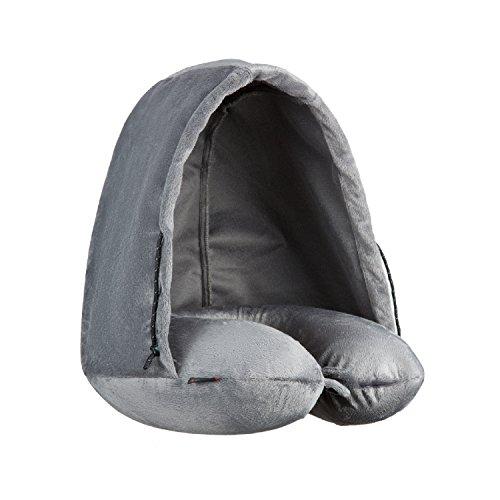 KingCamp Faltbares Nackenkissen mit Kapuze aus Memory-Schaum, einfach zu tragen für Innenräume und beim Übernachten im Freien,Grau