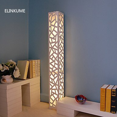 ELINKUME Floor Lamp,LED Warm White Hollow Carving Floor Lamp, Modern Style PVC Wood Plastic Plate Materials,Pedal Switch AC220V Indoor Lighting Perfect for Home, Living Room, Bedroom