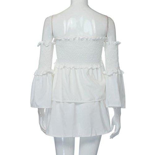 EARS - Frauen aus Schulter Top Lotus Blatt Ärmel Bluse Weiß