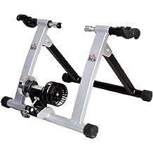 Homcom Rollen//Heim-trainer Fahrrad mit Magnetbremse, Silber, 5661-0061