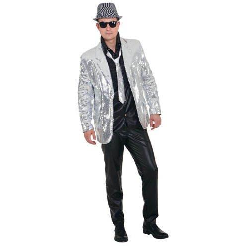 Jacke Kostüm Silber - PARTY DISCOUNT Herren-Kostüm Paillettenjacke, Silber, Gr. 56-58
