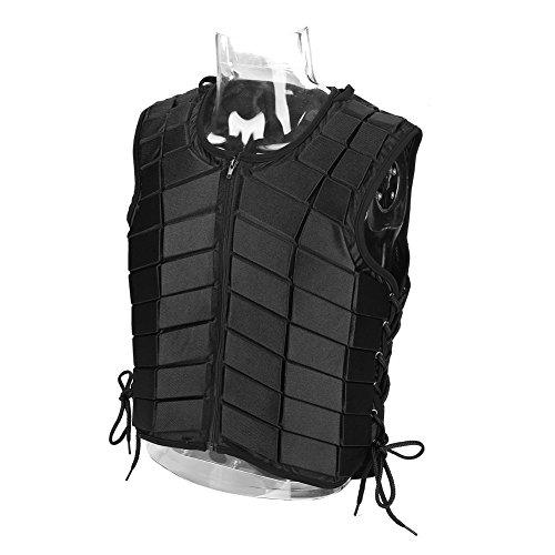 Cocoarm Damen/Herren Reitschutzweste, Sicherheitsreitweste, Komfort und leicht, Reißverschluss Weste Ausrüstung für Erwachsene (Schwarz, XL)