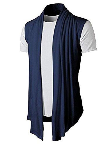 Brinny Herren Strickjacke Open Jacke Lang Cardigan Knit Mantel Strick Jacke Hoodie Hoody Sweatshirt Sweatblazer (DE S (Hersteller Größe M), KS46-Blau)