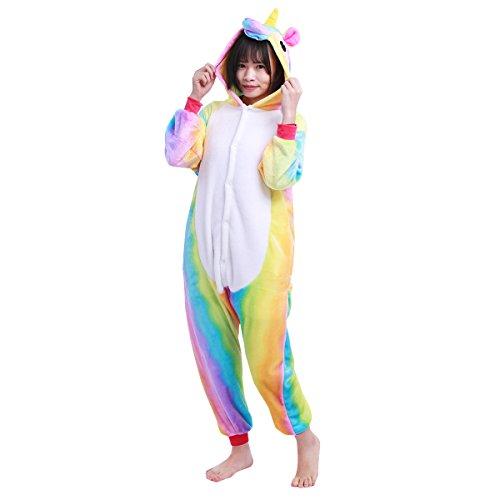 iEFiEL Kinder Pyjamas Einhorn Mädchen Tier kostüme Pyjama Schlafanzug Einhorn Jumpsuit Kostüm Bunt 128-140
