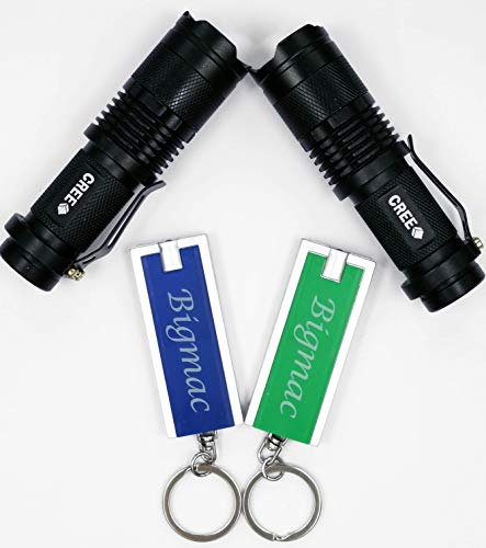 BIGMAC Cree LED-Taschenlampe, 7 W, 300 lm, 3 Modi, einstellbarer Fokus, mit 2 LED-Schlüsselanhänger-Lampen, mit Kunststoff-Geschenk-Box