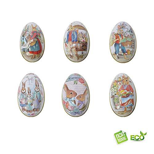 Morbuy pasqua de decorazioni unva di pasqua decorate scatola regalo di caramelle bambini egg bag libri fai da te di pasqua per la decorazione e caccia regalo (6pcs)