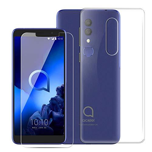 QFSM Skin Protection Coque pour Alcatel 1X 2019 Smartphone TPU Étui Silicone Transparent Housse Shell + Gratuit 1 Pcs Verre trempé écran Glass Vitre Glace-Clear