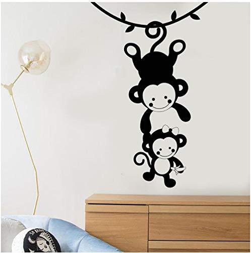 39e88617a9d21 Funny Monkey Family Zoo Animals Vinyl Decal Kids Room Decor Nursery Wall  Art extraíble pegatinas de pared 57x90 cm