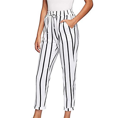 Lange Hosen Hohe Taillen Gestreifte Einfarbig Elastische Taillen Breite Bein Lose Freizeit Damen Hosen Streetwear (Weiß, S) ()