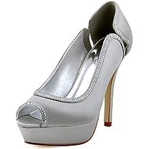 ElegantPark HP1503P Zapatos de tac¨®n Punta abierta Plataforma raso fiesta zapatos de novia Mujer