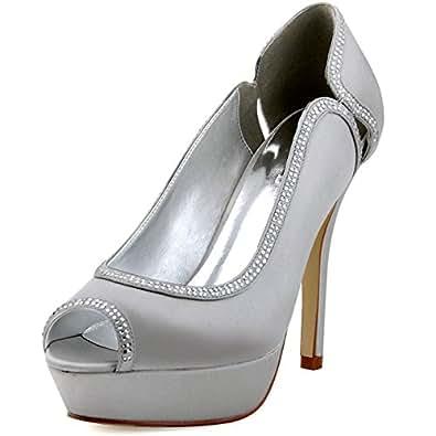 ElegantPark HP1503P Scarpe da sposa con tacco plateau peep toe (Argento), 40