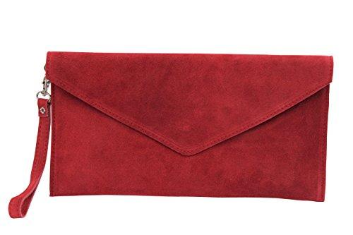 AMBRA Moda Damen Wildleder Envelope Clutch Abendtasche Partytasche Handschlaufe Suede Handgelenktasche Schultertasche Umhaengtasche Unterarmtasche Damentasche Veloursleder WL801 (Rot)