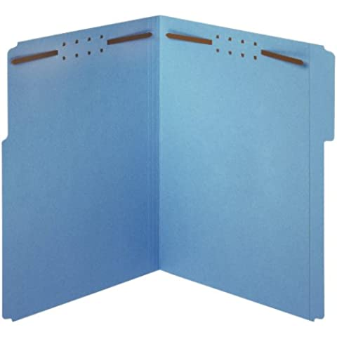 Folders w/Fastners, 11pt, 1/3 Cut, Ltr, 50/BX, Blue, Sold as 1 Box