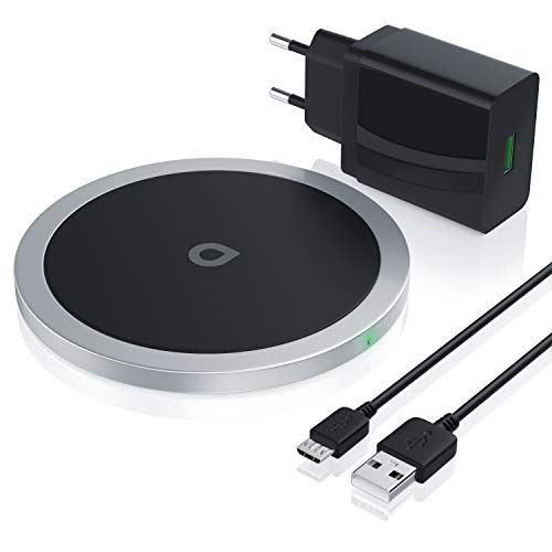10W Wireless Charger + USB Ladegerät QC 3.0 18W | Schnell-Ladegerät | Induktionsladegerät inkl. Netzteil | für Smartphones und Tablets Samsung Galaxy S8, S9, Note 5, 8, 9 iPhone 8, 8S, X, XS - Netzteil S9