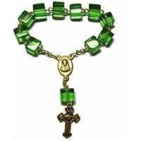 1 Decina tascabile rosari - verde quadrato cubed perline - 8mm