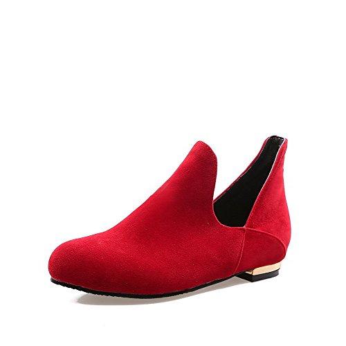 VogueZone009 Femme Couleur Unie Dépolissement à Talon Bas Tire Rond Chaussures Légeres Rouge