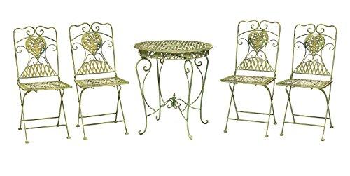 Gartentisch und 4 Stühle Eisen antik Stil Gartenmöbel in hellem creme grün iron