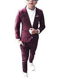 DianShao Jungen 2 Stück Formal Anzug Sets Einfarbig Kinderkleid Festliche Kleidung Hochzeit