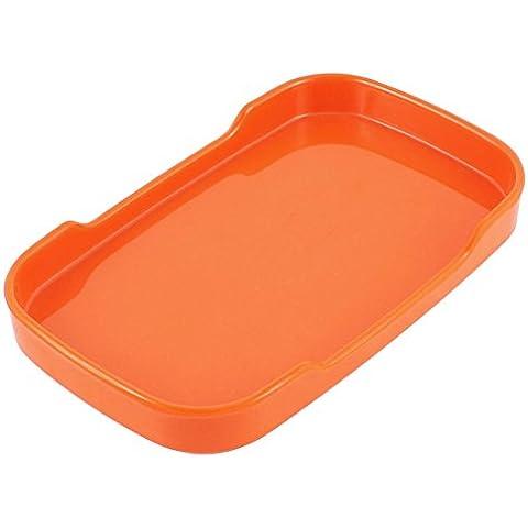 Plástico rectangular cena en forma de postre Snack-Plate 19cm largo de color naranja