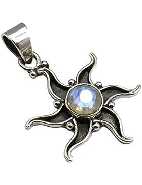 Exklusiver Ketten Anhänger Mondstein Stern 3.2 Karat eingefasst in 925 Sterling Silber Cabochon Juweliers- Qualität