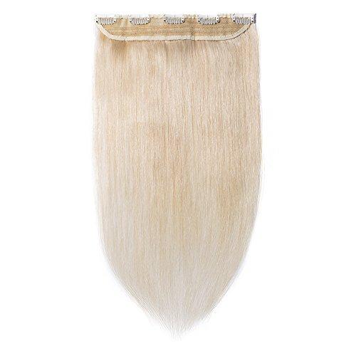 Clip in extensions echthaar Haarverlängerung 100% Remy Echthaar - 1 Stück (45cm-50g #60 Platinum Blonde)