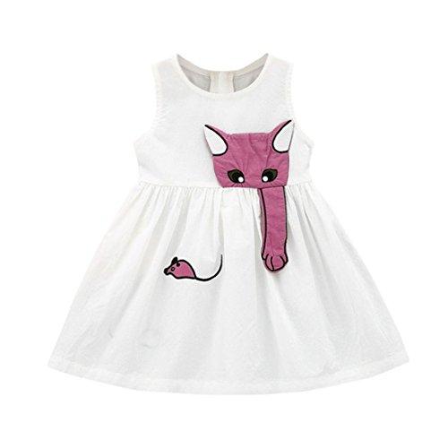 n Cartoon Muse Kleid Ärmelloses Strand Sundress Kleidung Outfits, Kinder, Weiß, 6-12 Monate (Halloween Kostüme Für 8 Personen)