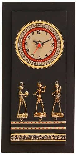Aapno Rajasthan Ethnic Style Wooden Wall Clock with Brass Work (Black)