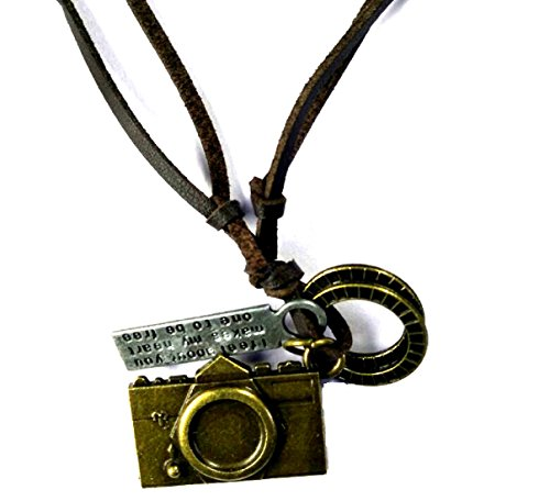 MM Fashionable Looking Pendant with Leather Chain for Party Wear College Boys Men Boyfriends Lovers Leather Chain with Pendant Special Gift for Boyfriend Brothers Birthdays (CAMERA)