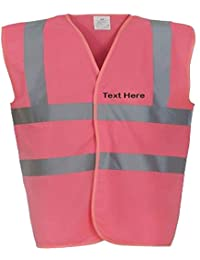 PERSONALISED PINK HVW100 HIGH VISIBILITY ADULTS safety WAISTCOAT /VEST ADD YOUR OWN TEXT
