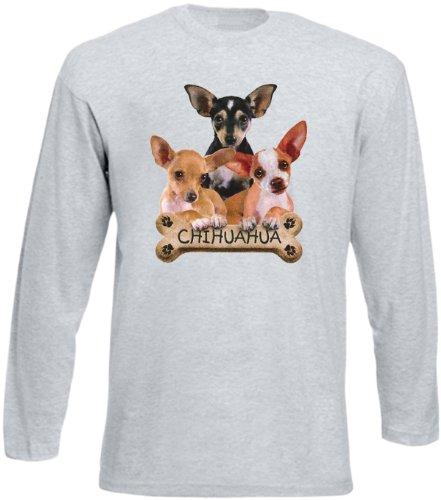 Cooles Herren Langarmshirt, Farbe: Grau, USA Hunde Motiv: Chihuahua Grau