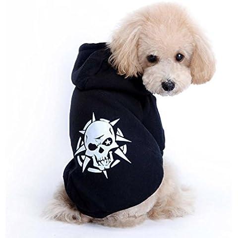 para perro mascota ropa de Halloween,RETUROM Fresco caliente perrito del cráneo Negro Escudo ropa para perros de la chaqueta del traje de la camiseta con capucha (M)