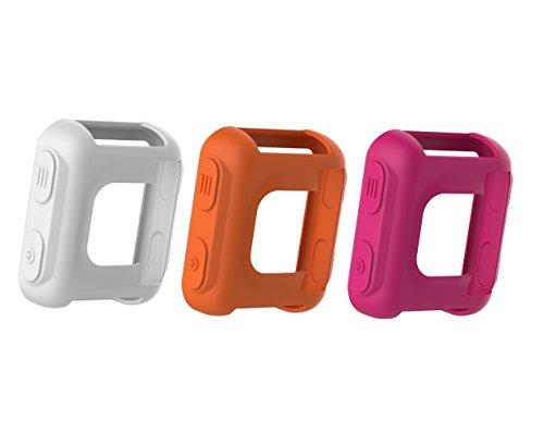 TenCloud Band Cover für Forerunner 35Uhr, Garmin Forerunner 35Approach S20Armbanduhr Zubehör Silikon Hülle Schutzfolie Ersatz, White,Orange,Fuchsia - White-band-uhr