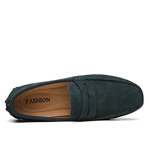 luwell Klassische Herren Mokassin Bootsschuhe Wildleder Loafers Fahren Halbschuhe Slippers Grün