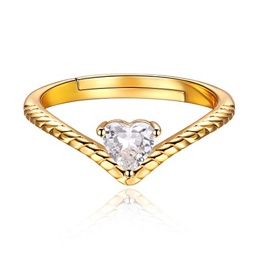 12 Monate Geburtstagsserie April Diamant, 925 Sterling Silber Zirkonia Herz Promise Ring Damen Schmuck ... (Kleine Herzen Ring)