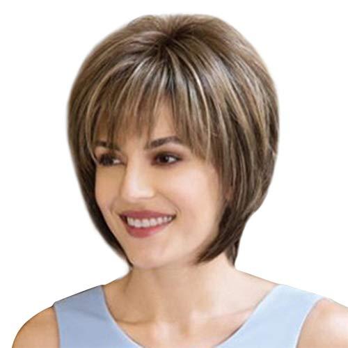 Parrucca sintetica corta, da donna, morbida, naturale