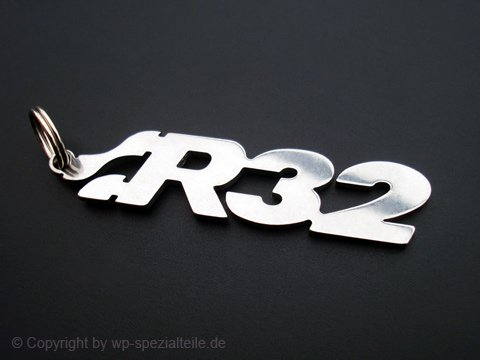 R32 Schlüsselanhänger Emblem aus Edelstahl hochwertig poliert und kratzfest (Erste Anhänger V)