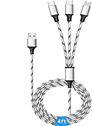 HULPPRE 4ft Charging Cable 3 in 1 Nylon Braided Universal USB Cable Fast Multi Charger Cable Design for iPhone