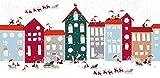 Fensterfolie Dekofolie 'Weihnachten' | Selbstklebend | dekorativer Sichtschutz | Glasdekorfolie | Aufkleber | Fensterbild | Fenstersticker | Fenster-Deko | Dekorfolie | Window-Sticker, Größe:90x45 cm