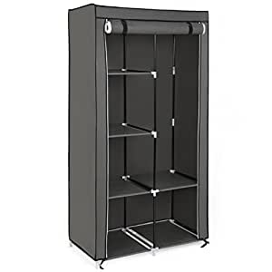 songmics xl kleiderschrank stoffschrank faltschrank mit 2 kleiderstange belastbar bis 25. Black Bedroom Furniture Sets. Home Design Ideas