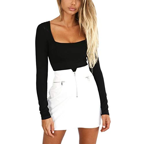 NEEKY Sexy Tops Damen Party Ausschnitt - Fashion Women's Long Sleeve Solid Square-Neck Blouse Long Top Loose T-Shirt