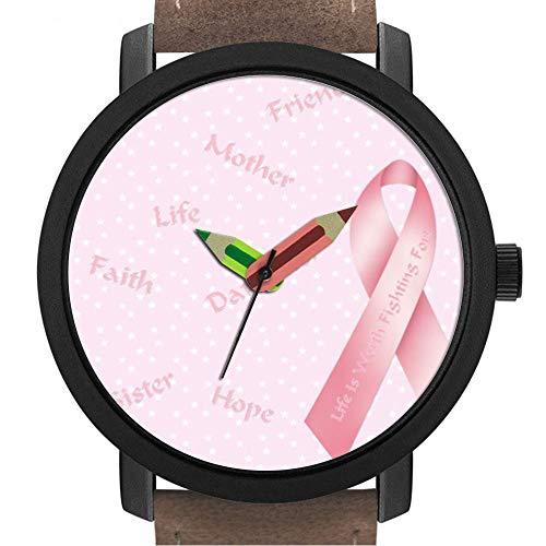 sene | Kinder | Geburtstag | Stilvolle niedliche Armbanduhr mit Bleistift Form Pointer Ornament Geschenk 316 Pink Ribbon ()