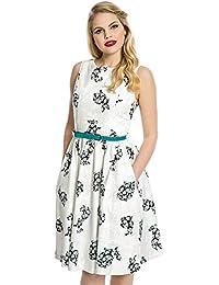 Swing Audrey robe avec des lapins impression blanc - Vintage, années 50, Rockabilly - XL / NL42 - Lindy Bop