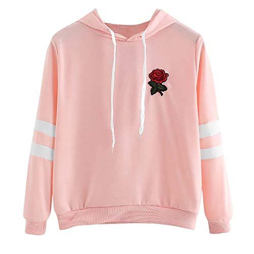 Xmiral Damen Hoodie Applique gestreiften Kordelzug Ernte Sweatshirt Jumper Pullover Top (XL,Rosa) -