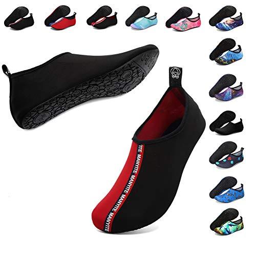 Deevike Aqua Socken Wasserschuhe Barfuß Yoga Socken Schnell Trocken Surfen Schwimmen Schuhe für Damen Herren Spleiß Schwarz Rot 40/41