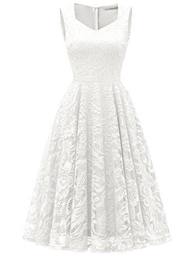 Gardenwed Damen Elegant Spitzenkleid Strech Herzform Abendkleid Cocktailkleider Partykleider White M