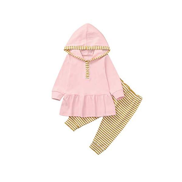 Body para bebés y niños pequeños Tops de Volantes sólidos con Capucha para bebés y niños pequeños + Pantalones de Rayas… 4