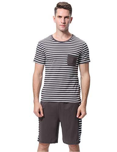 iClosam Herren Baumwolle Kurzarm Pyjamas Set, Zweiteiliger Schlafanzug mit Tasche (Brown, XXL) - Baumwolle Pj Set