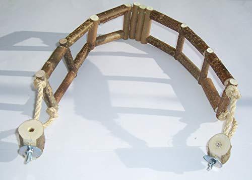 Birke-brücke (BuyAndBeHappy70 Kletterbrücke Hängebrücke Hängematte für Vögel Wellensittiche Kanarien Käfigzubehör aus Naturholz)